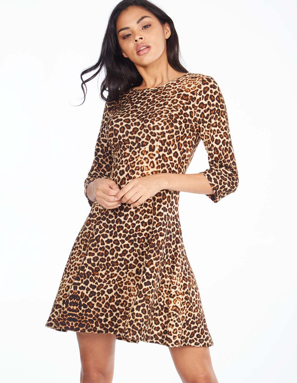 IRIS - Fit & Flare 3/4 Sleeve Leopard Dress
