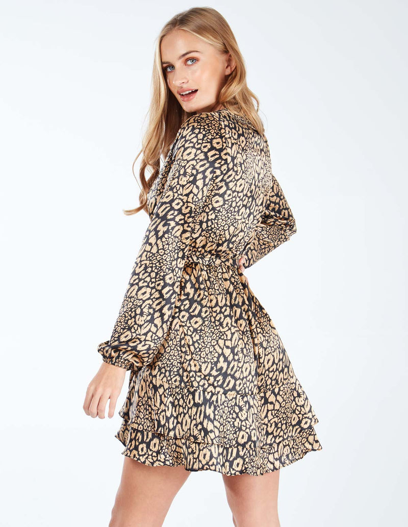 BELINDA - Frill Hem Wrap Animal Print Dress
