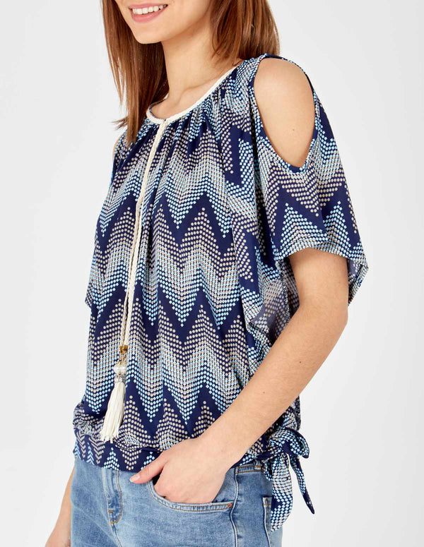 KALANI - Blue Cold Shoulder Sash Belt Top