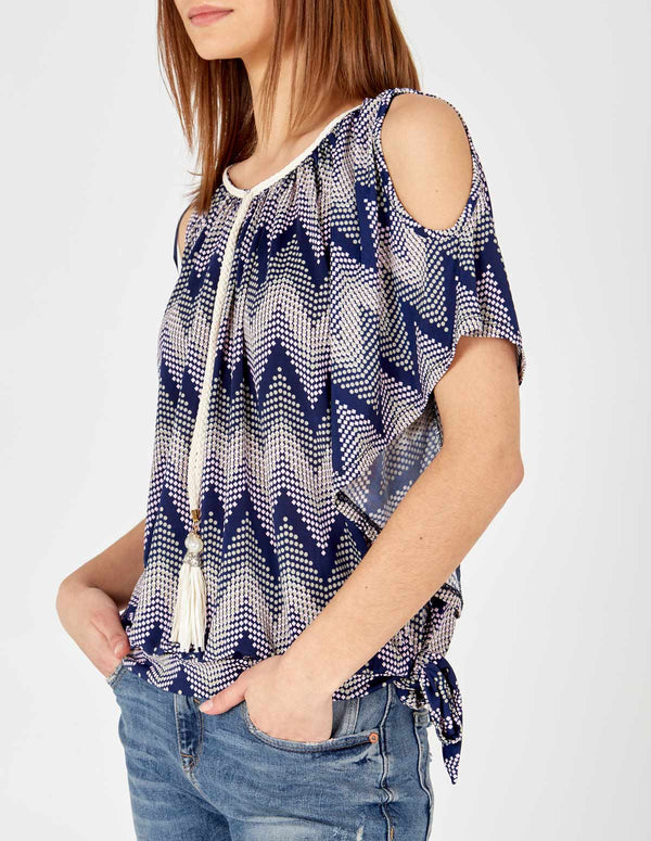 KALANI - Pink Cold Shoulder Sash Belt Top