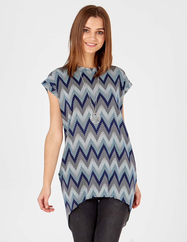 PIPER - Blue Oversized Top Necklace Detail
