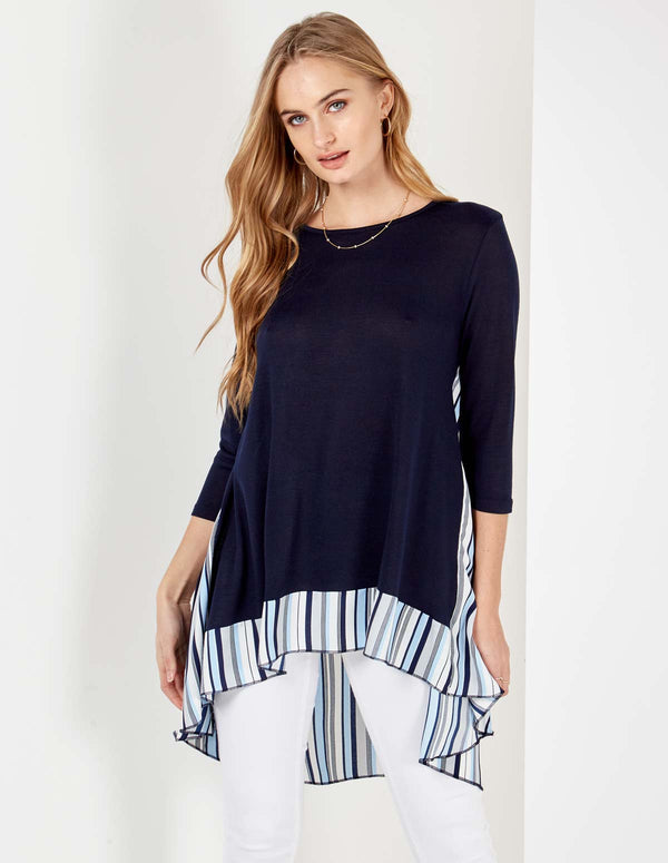 VIVIANA - 3/4 Sleeve Stripe Split Back Navy Tunic