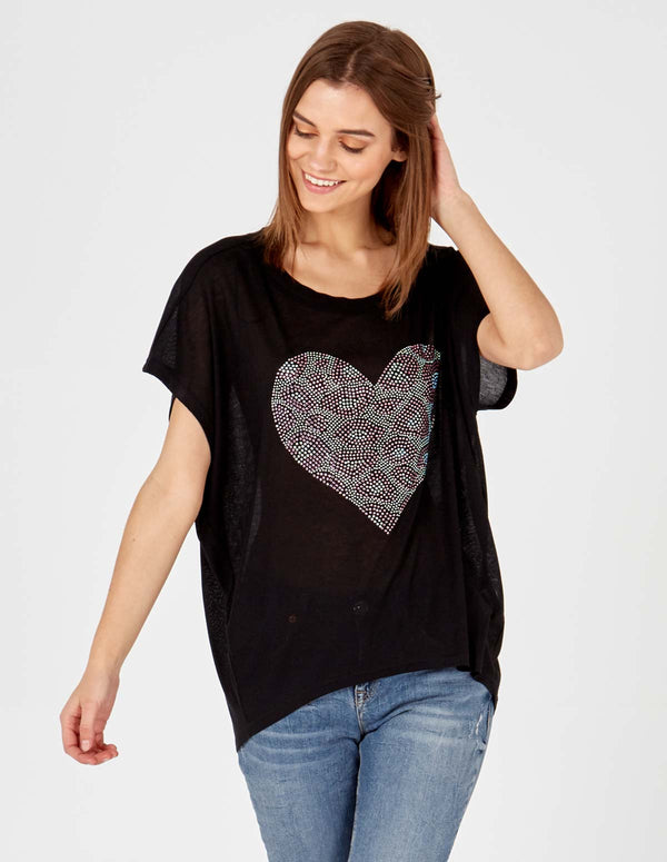 COURTNEY - Black Diamond Heart Top