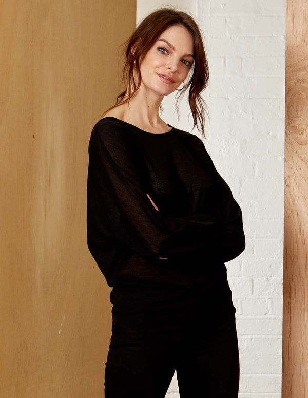 LAINY - Pearl Back Detail Batwing Black Top