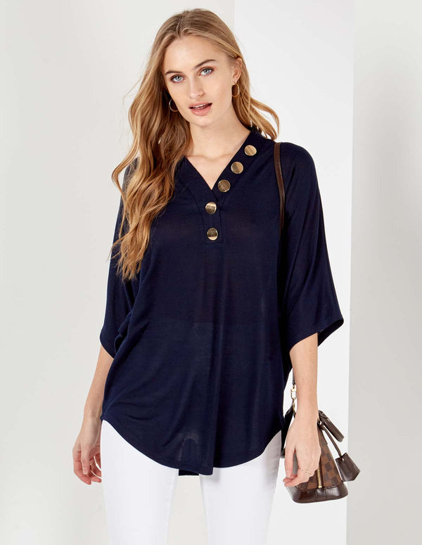 GIULIA - Button Front Detail Oversized Navy Top
