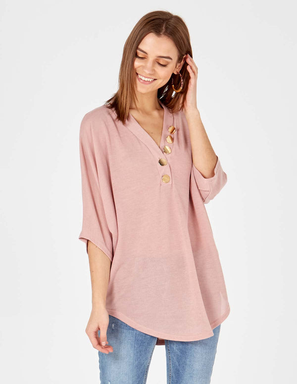 GIULIA - Button Front Detail Oversized Pink Top