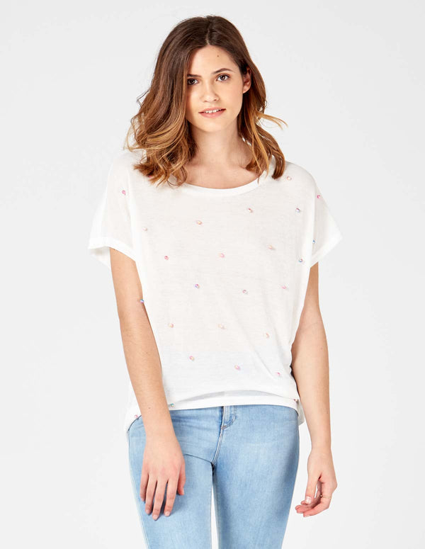 MIKAYLA - Short Sleeves Oversized White Top With Studs