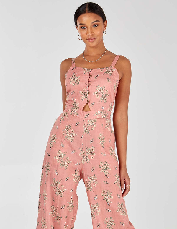 JULIE - Pink Button Front Jumpsuit