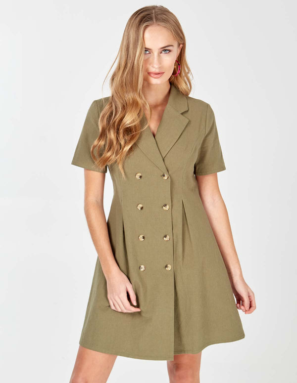 LAIA - Khaki Double Breasted Safari Dress