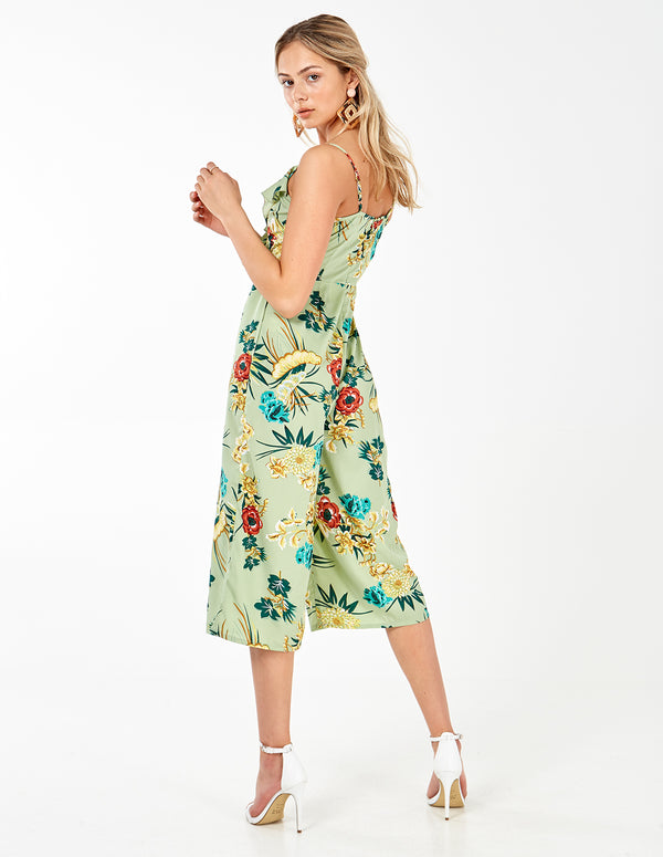 ORCHID - Green Wrap Frill Culotte Jumpsuit