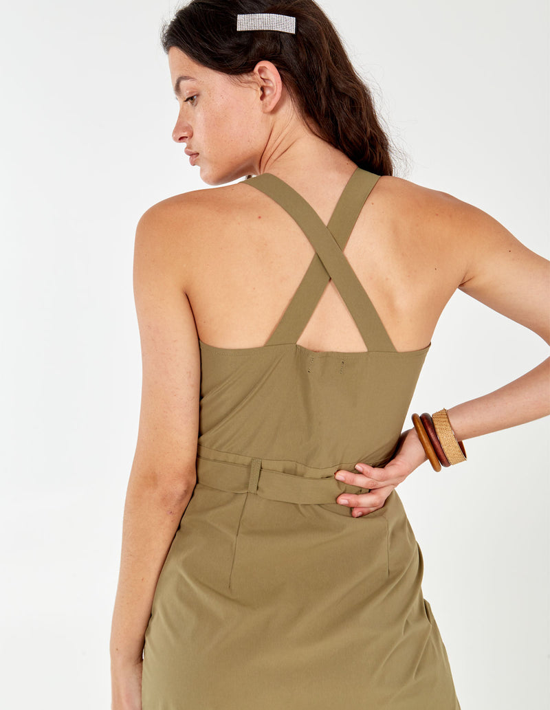 AGNES - Khaki Wrap Front Belted Midi Dress
