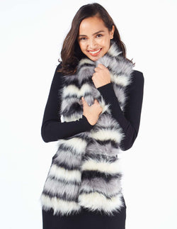 DANELLE - Faux Fur Grey Neck Warmer