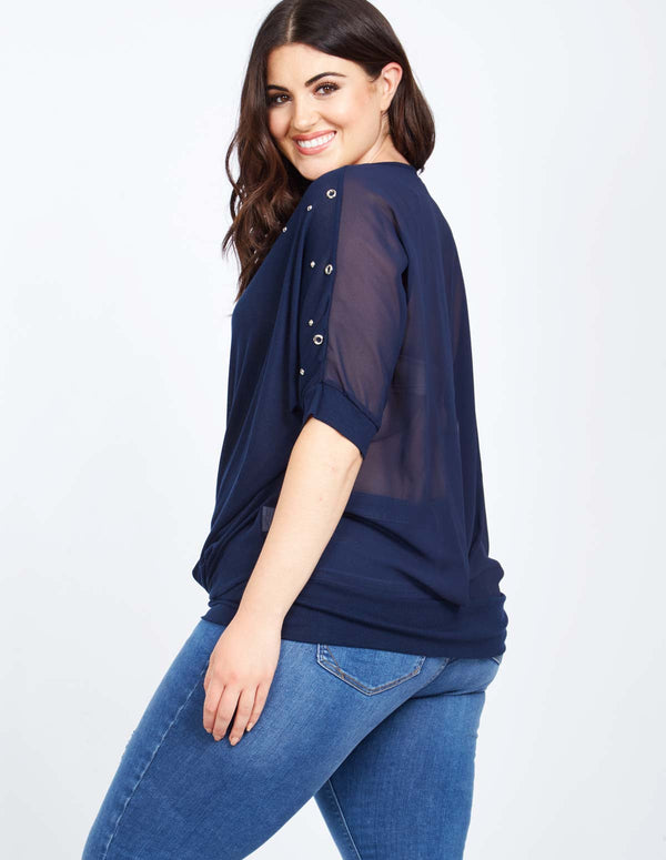 NEAL - Studded Chiffon Navy Top