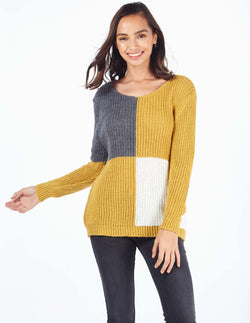 BENICIA - Panelled Knitted Mustard Jumper