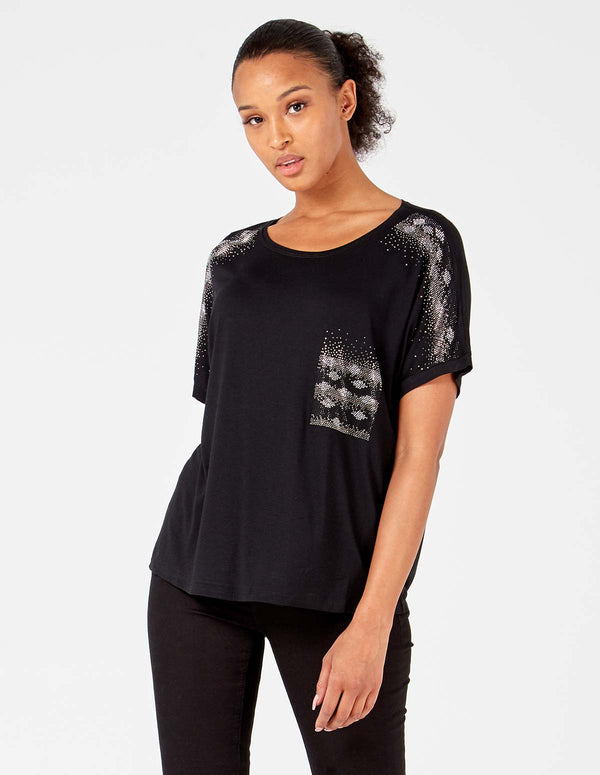 MELANIA - Black Embellished Sleeve /Pocket Top