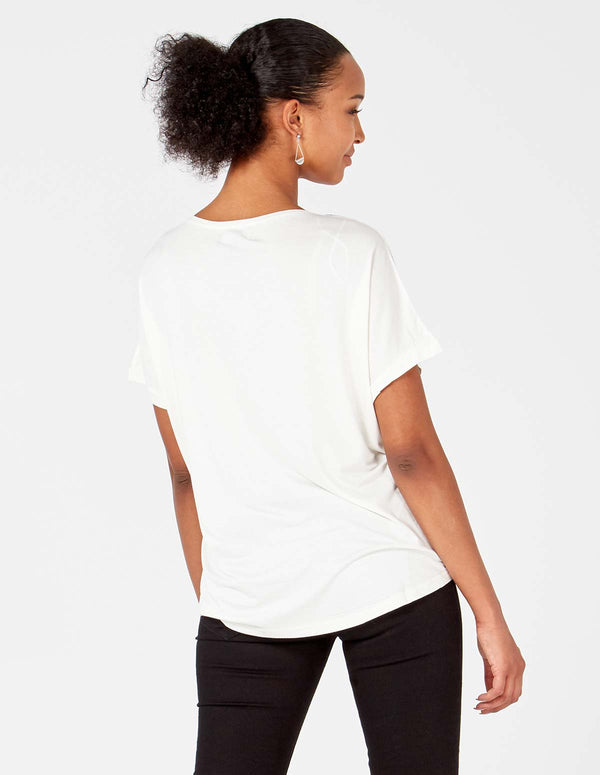 MELANIA - Cream Embellished Sleeve /Pocket Top