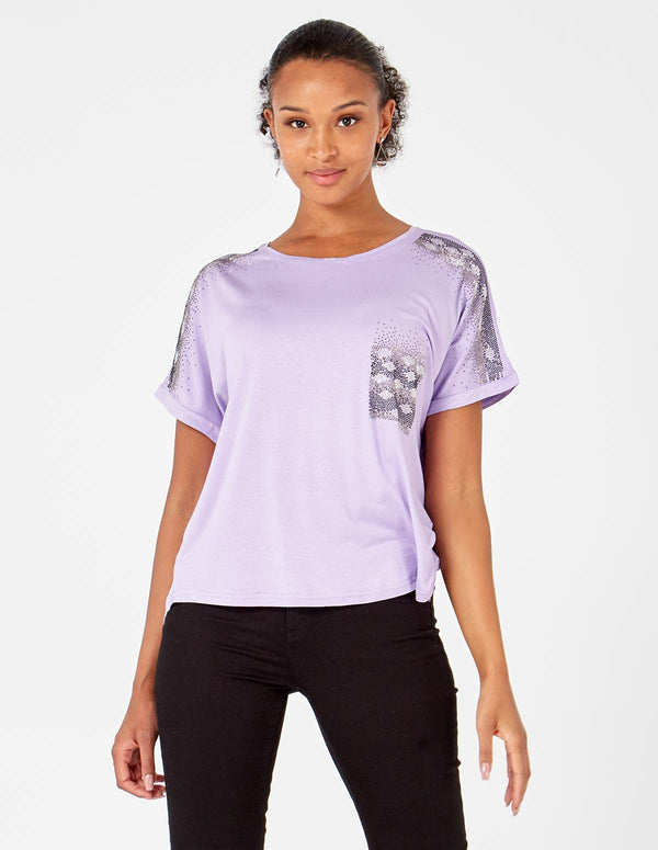 MELANIA - Lilac Embellished Sleeve /Pocket Top