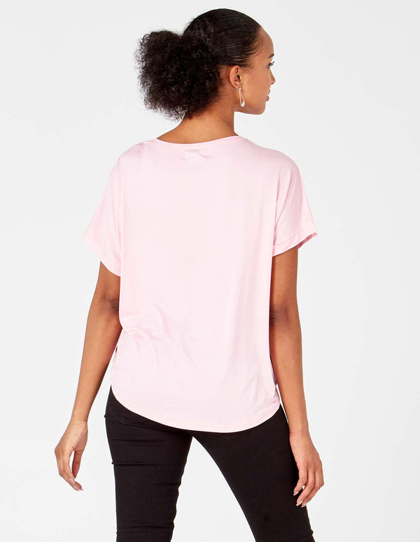 MELANIA - Pink Embellished Sleeve /Pocket Top