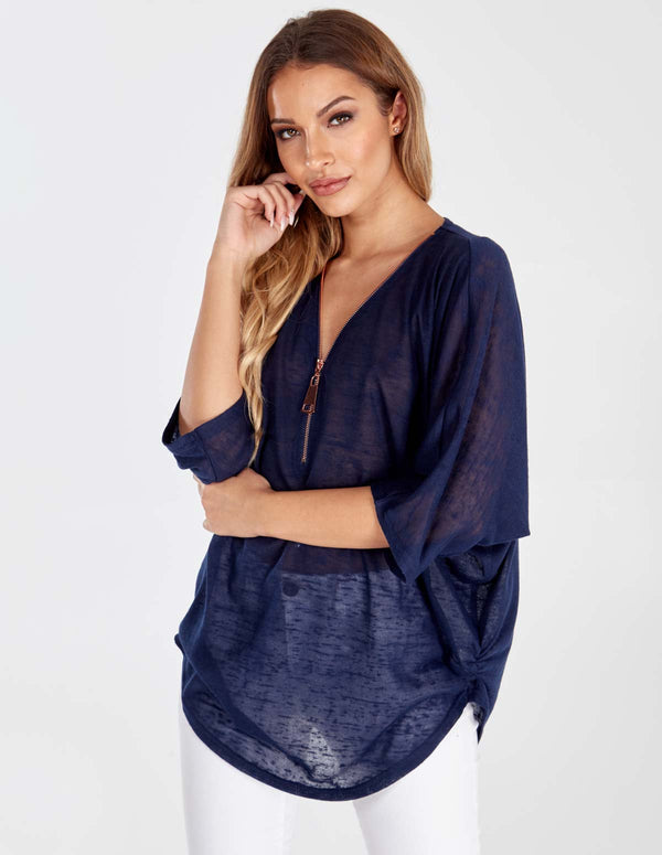 TAL - Rose Gold Zip Front Navy Batwing Top