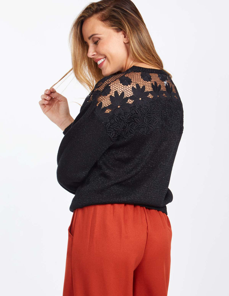 JANICE - Bishop Sleeve Lace Front Detail Black Jumper