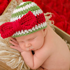 Red Christmas Bow Striped Christmas Baby Girl Hat icon