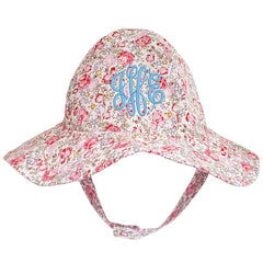 Red Roses Floral Printed Sun Hat - Option for Monogramming or Personalization icon