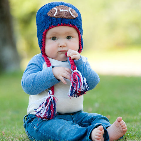 USA Football Baby Boy and Toddler Hat - Red White and Blue (Brown Football)