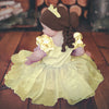 Baby Beauty Belle Inspired Hat - Brunette Curls, Bun and Yellow Crown