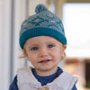 Teal and Soft Blue Pom Pom Baby Boy Beanie  - Fully Cotton Lined