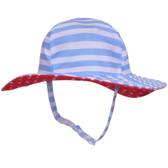 Gender Neutral Sailor Hat- Blue and White Stripes with Red and White Polka Dot Lining icon