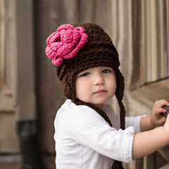 Girlie Aviator Flower Earflap Beanie for Baby and Toddler Girls - Chocolate Brown and Pink Flower icon