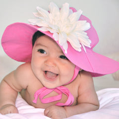 Pink Wide Brim Sun Hat with White Flower Daisy Sun Hat - Removable Flower icon