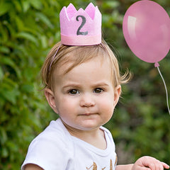 Pink Felt Birthday Crown Headband - Chose numbers 1, 2 or 3 years old - GLITTER NUMBER icon