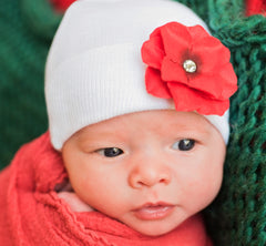 Red Christmas Hydrangea Flower on White Hat Baby Newborn Girl Hospital Hat icon