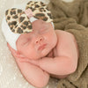 Lux Leopard Bow Baby Newborn Girl Hospital Hat - White Hat with Leopard Fabric Bow