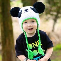 Punk Rock Panda Baby Boy and Toddler Boy Warm Winter Beanie Baby Hat icon