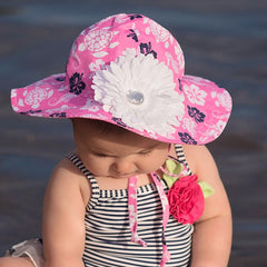 Pink Hawaiian Floral Printed Girls Sun Hat - Removable White Daisy Flower icon