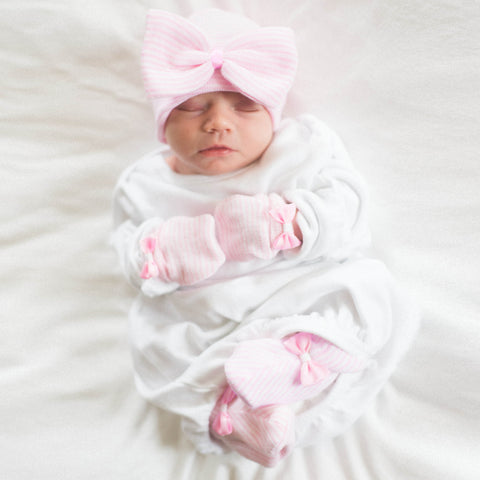 Big Bow Pink and White Striped Receiving Nursery Hat, Mittens and Booties SET for Newborn Girls