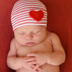 Red and White Striped Newborn Gender Neutral Hospital Hat with Red Crocheted Heart icon