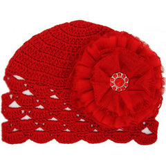Ruby Red Crochet Scalloped Edge Baby Hat with Red Lace Flower icon