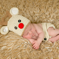 Red Nosed Reindeer Hat and Diaper Cover Newborn Set - Christmas Set icon
