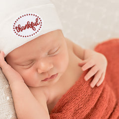 Thankful Thanksgiving Patch White Newborn Hospital Hat - Gender Neutral - Boy or Girl icon
