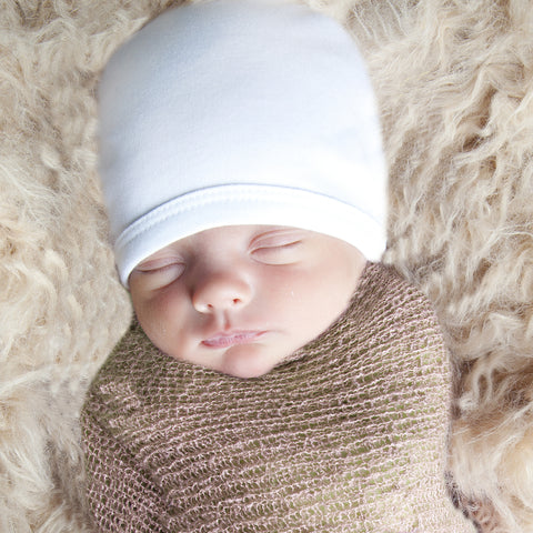 b2cd62ed1 Pure White 100% Certified Organic Cotton Baby Beanie - Option for  personalization