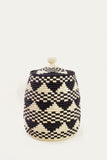 Raffia Patterned Lidded Basket