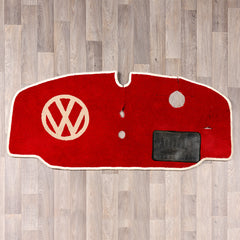 Early bay window vw cab rug with vw logo in red and cream colours