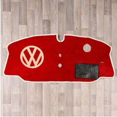 Late Bay window vw van cab rug with vw logo in red and cream colours