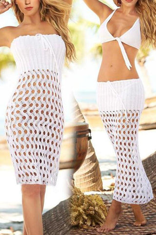 Hollow Knitted Mesh Coverall Sunscreen Beach Cover Ups