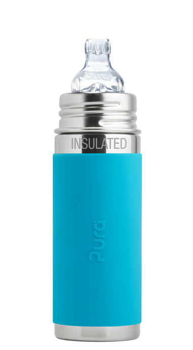 Pura Kiki 260ml Insulated Toddler Sippy - Aqua Sleeve