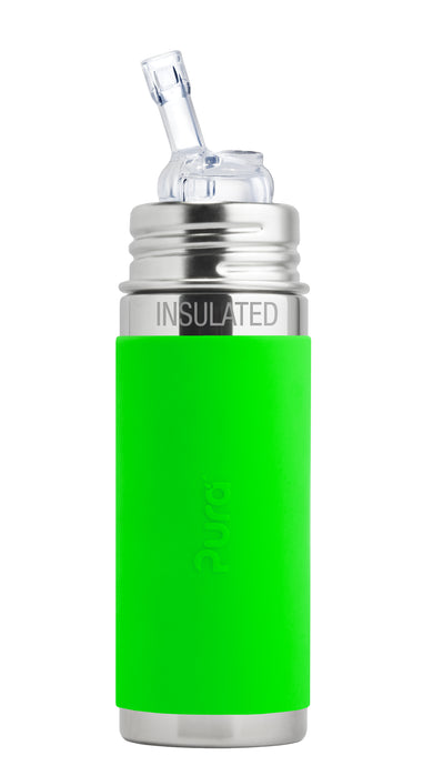 Pura Kiki 260ml Insulated Straw Stainless Steel Bottle - Green Sleeve