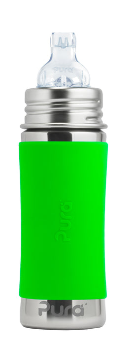 Pura Kiki 325ml Toddler Sippy Stainless Bottle - Green Sleeve